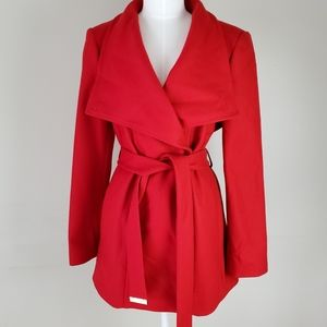 Ted Baker London red wool belted peacoat